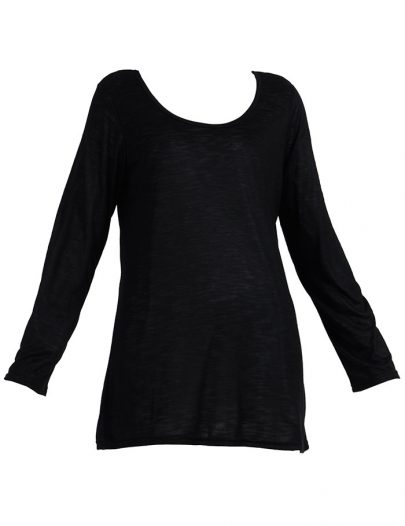 Long Sleeve Viscose Knit Under Dress Slip Top Regular Length Black