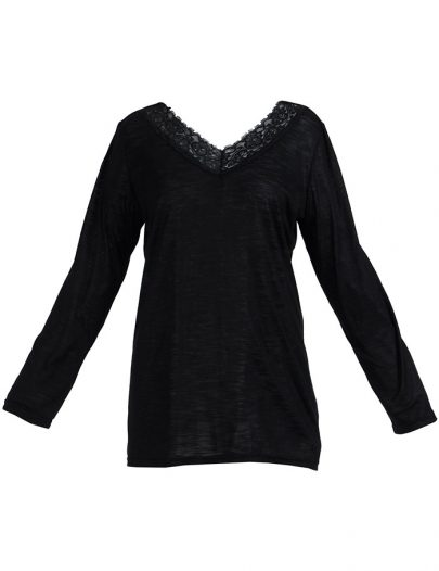 Lace Long Sleeve Viscose Knit Under Dress Slip Top Regular Length Black