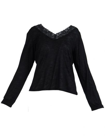 Lace Long Sleeve Viscose Knit Under Dress Slip Top Short Length Black