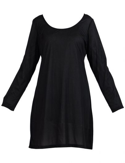 Long Sleeve Polyester Under Dress Slip Top Long Length Black