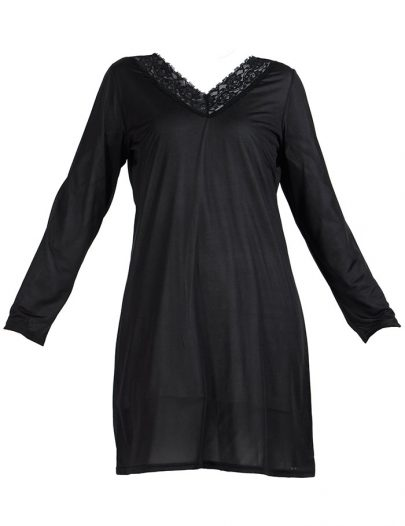 Lace Long Sleeve Polyester Under Dress Slip Top Long Length Black