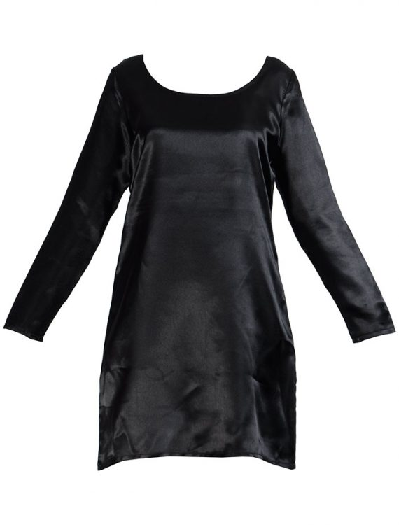 Long Sleeve Satin Under Dress Slip Top Long Length Black