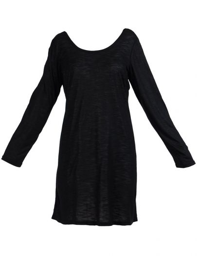 Long Sleeve Viscose Knit Under Dress Slip Top Long Length Black
