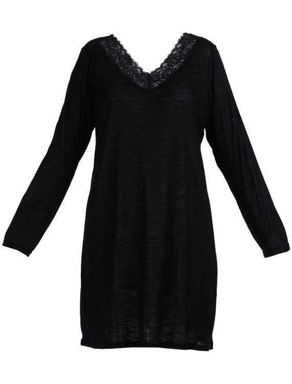 Lace Long Sleeve Viscose Knit Under Dress Slip Top Long Length Black