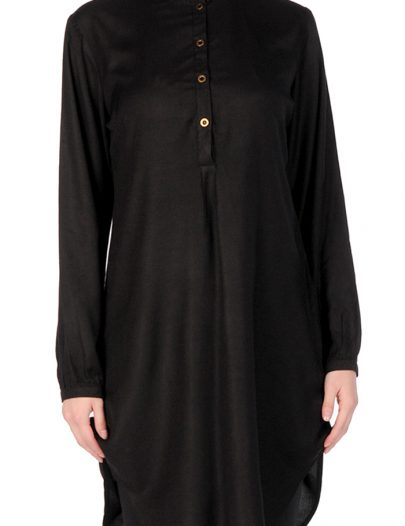 Rayon Button Tunic Black