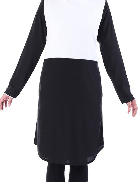 Bisar Black And White Poly Crepe Tunic Black