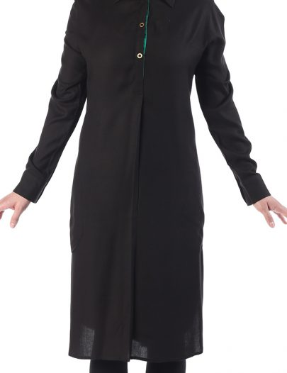 Wafia Butterfly Collar Rayon Tunic Black