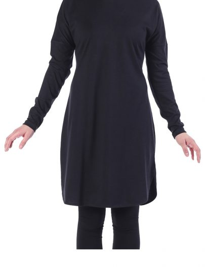 Cotton Knit Modest Length T-Shirt Black