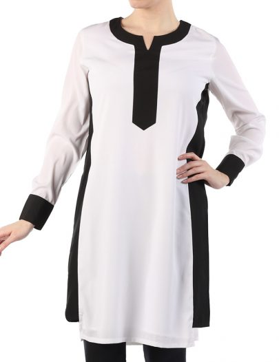 Wadu White And Black Poly Crepe Tunic