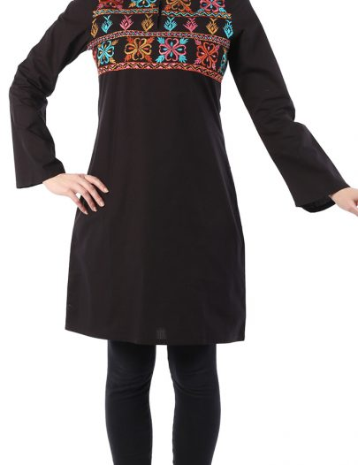 Spring Cotton Flower Tunic Black