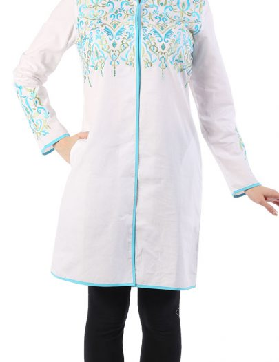 Oriental Embroidered Tunic White