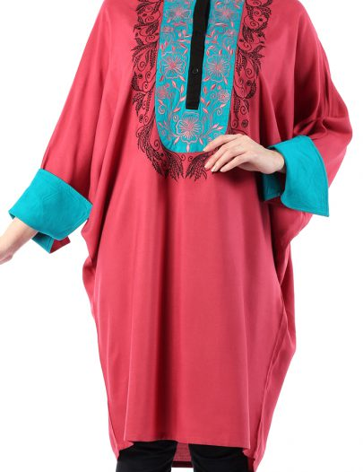 Comfortable Embroidered Rayon Tunic Rust