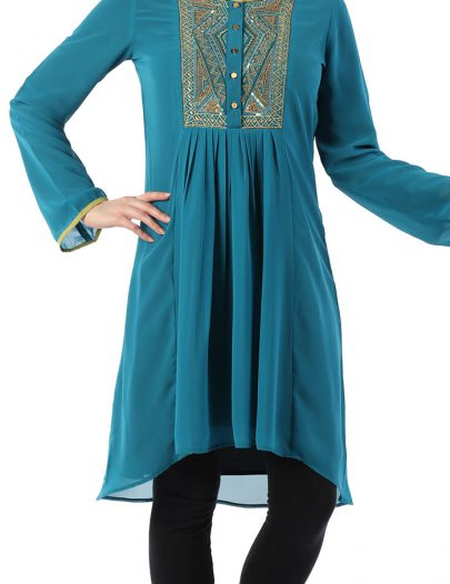 Gold Embroidered Georgette Tunic