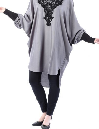 Rayon Tunic With Lace Embroidery On Chest Black