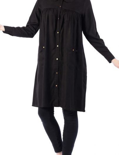 Pretty Spring Gold Button Tunic Black