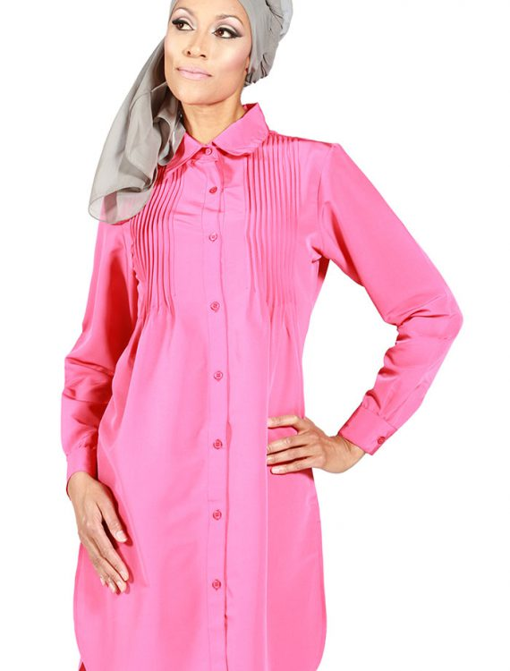 Basilie Pleated Shirt Dark Pink