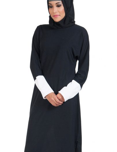 Slip On Color Block Cotton Knit Tunic Black