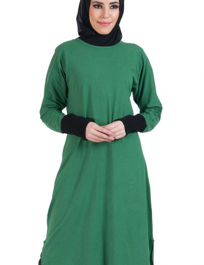 Slip On Color Block Cotton Knit Tunic Green