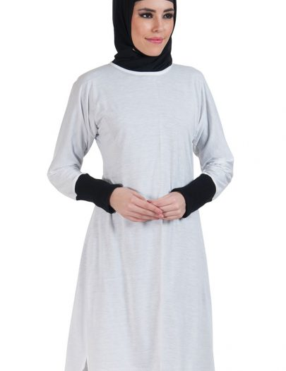Slip On Color Block Cotton Knit Tunic White