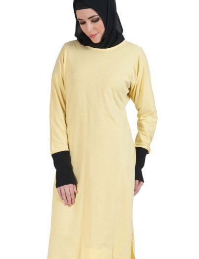Slip On Color Block Cotton Knit Tunic Yellow