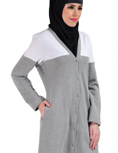 Color Block Cotton Fleece Cardigan Black