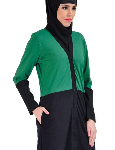 Color Block Cotton Knit Cardigan Green