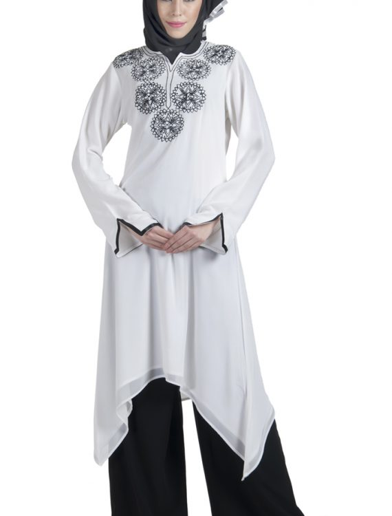 White Crepe Fully Lined Long Tunic With Embroidery White