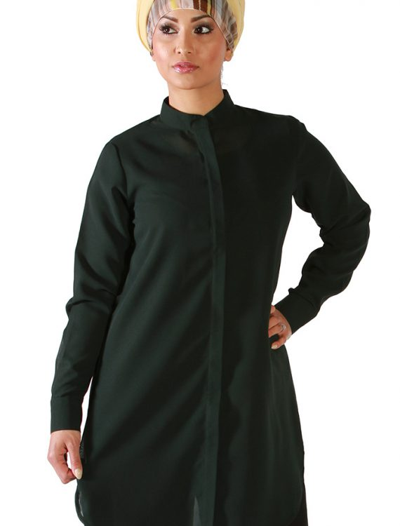 Dark Green Georgette Kurti Shirt Green