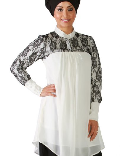 Laced Georgette Kurti Ivory White