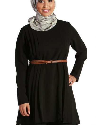 Black Pleated Georgette Kurti
