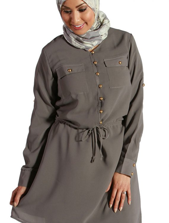 Drawstring Georgette Kurti Grey