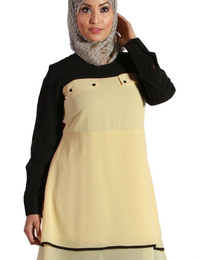 Yellow Color Block Georgette Kurti Yellow