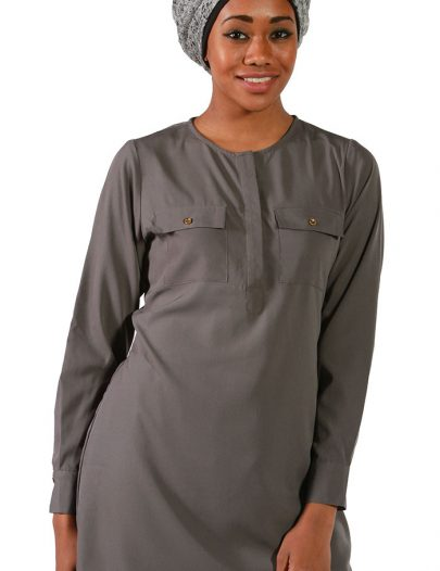 Dark Grey Crepe Tunic Grey