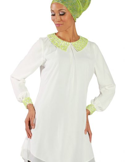 Embroidered Collar & Cuff Georgette Tunic Ivory White