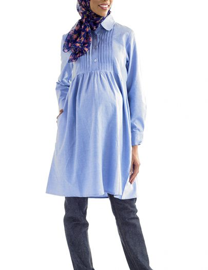 Halawa Cotton Maternity Kurti Blue