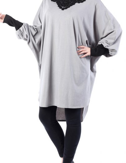 Cotton Tunic With Bat Shaped Sleeves Black