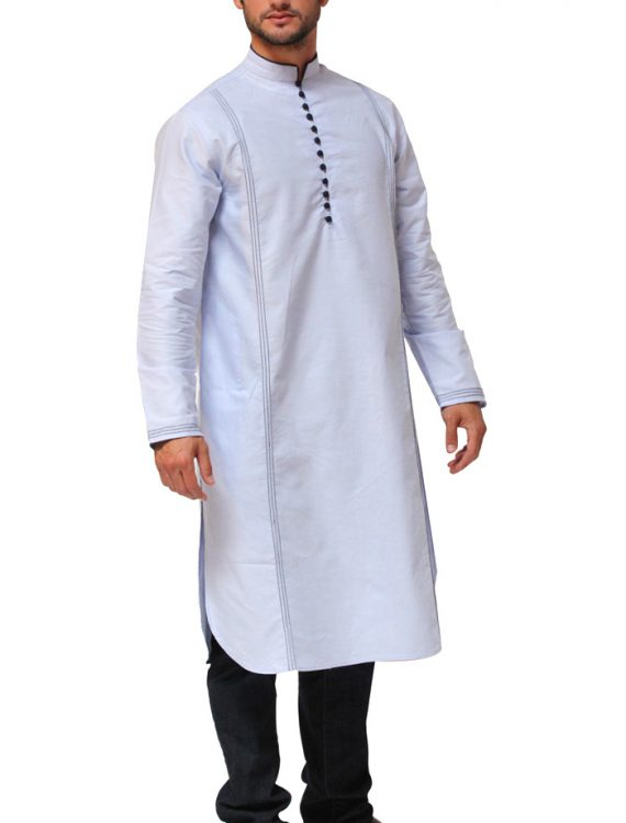 Mens Chambray Kurta Blue