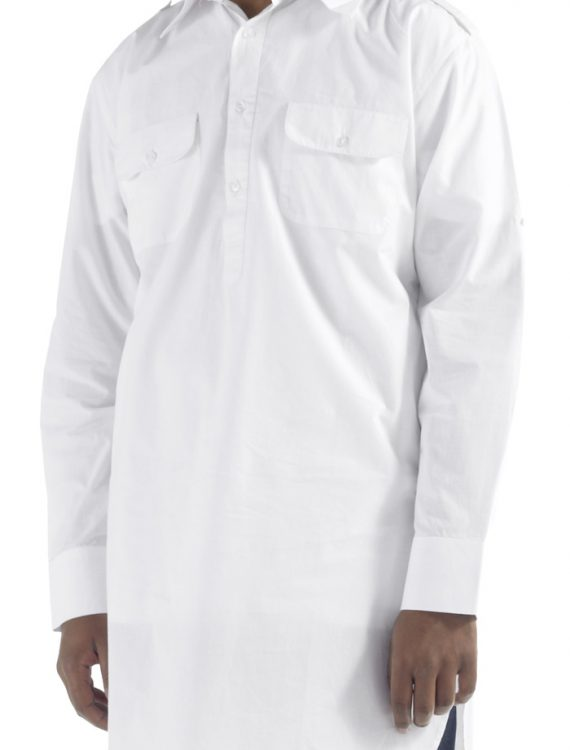 White Cotton Tab Shirt White