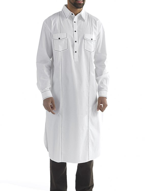 Fadi Mens Cotton Kurta Black