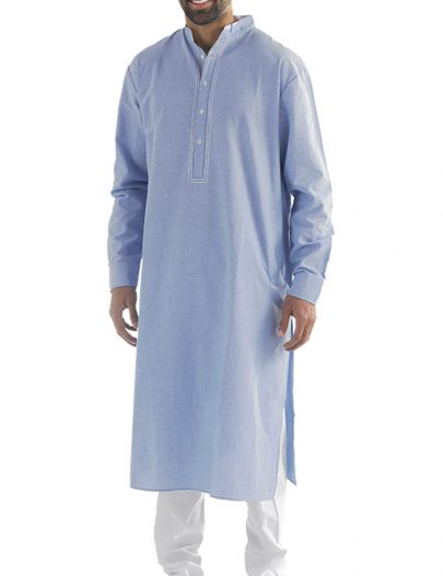 Nabeel Chambray Mens Kurta Blue