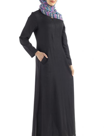 Basic Everyday Rayon Abaya Black