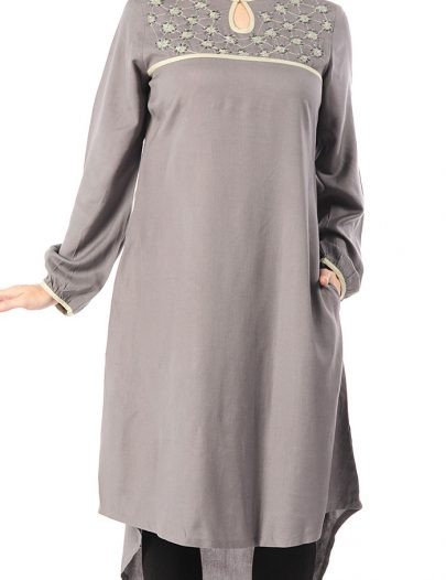 Embroidered Extra Long Rayon Tunic Black