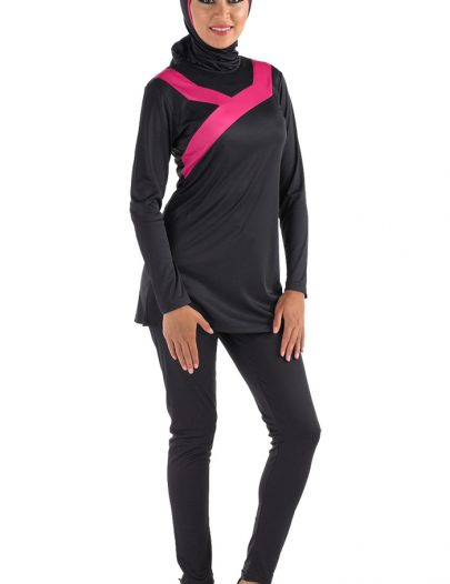 Ahmar Burqini Swim Set Black With Pink Trim