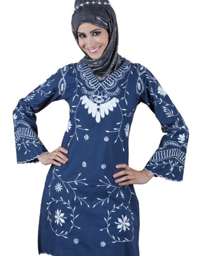 All Over Embroidered Kurti Navy Blue