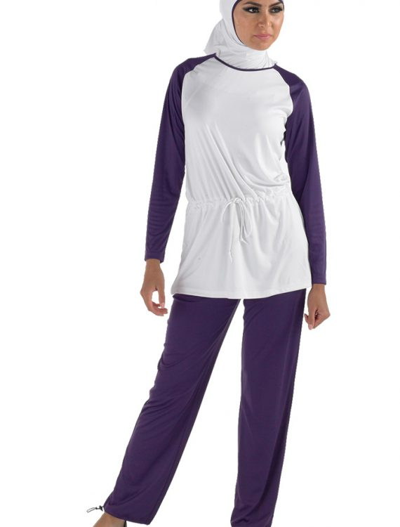Argwan Burqini Set Purple With White