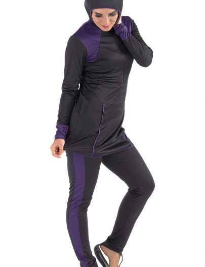 Behr Swim Burqini Black/Purple Trim