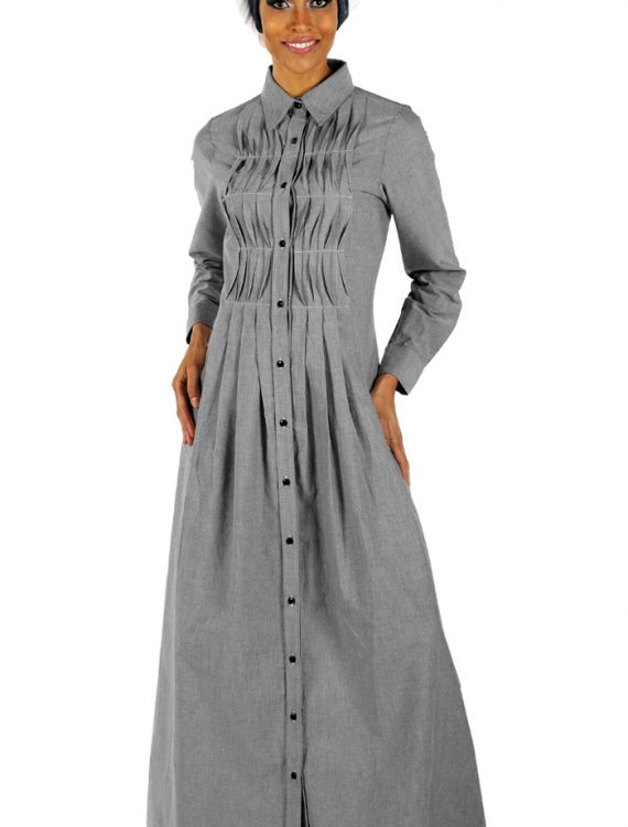 Chambray Shirtdress Abaya Grey