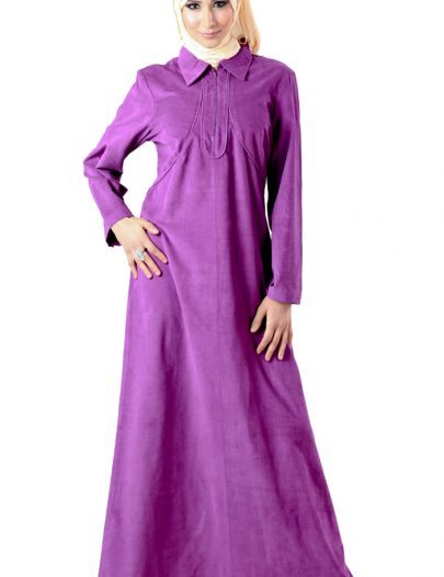 Corduroy Abaya Eggplant - Out Of Stock