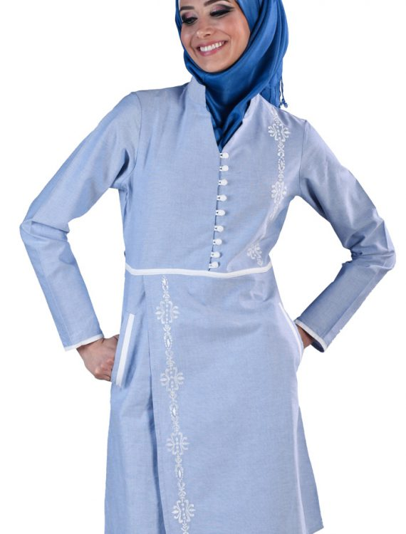 Deema Embroidered Kurti Tunic Blue