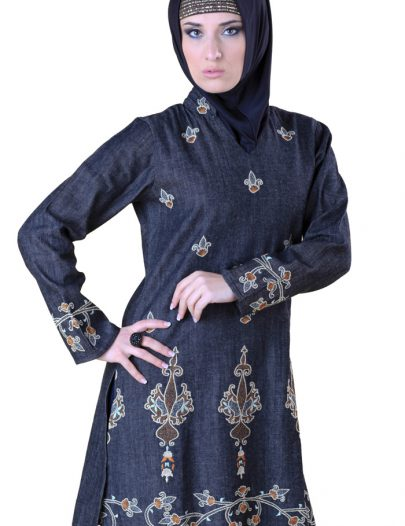 Denim Embroidered Kurti Black